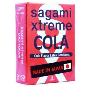 *SAGAMI Xtreme Cola  3шт. Презервативы со вкусом колы, латекс 0,04 мм