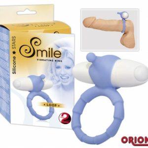 Smile Насадка-кольцо для пениса с вибрацией Loop голубое