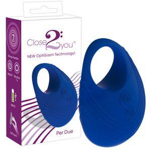 Close2you Виброкольцо для пениса Per Due синее
