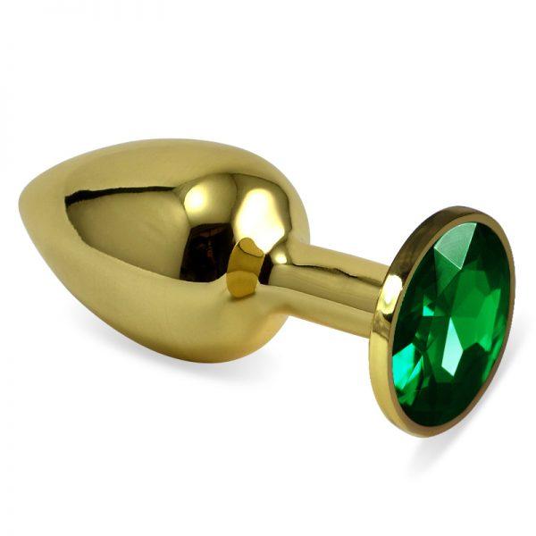 LOVETOY Classic Small Золотая втулка с изумрудным кристаллом, l=6.8 см, d=2.8