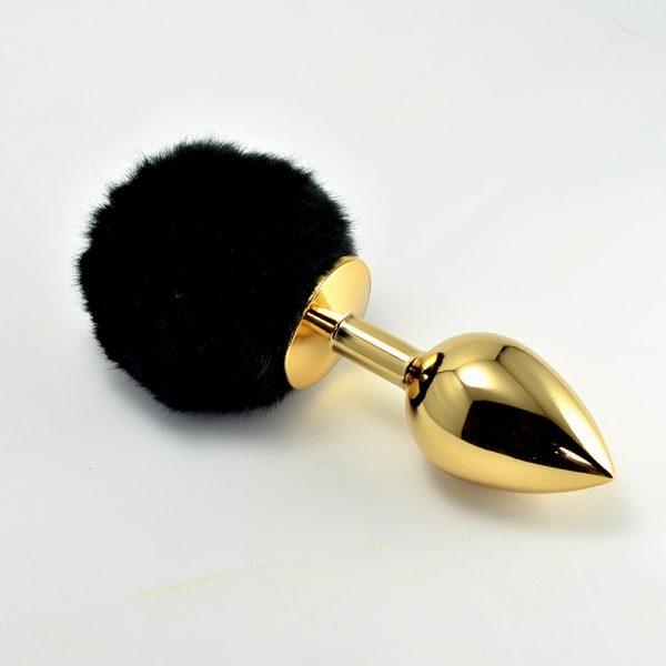 LOVETOY Tail Rabbit Large Золотая втулка с черным хвостиком, l=9 см, d=3,7 см