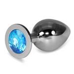 LOVETOY Classic Large Серебряная втулка с голубым кристаллом, l=9 см, d=3,7 см