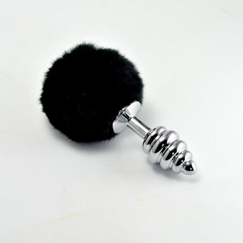 LOVETOY Tail Rabbit Spiral Серебряная втулка с черным хвостиком, l=6,8 см, d=2,8 см