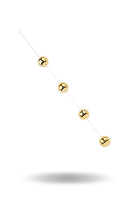 Вагинальные шарики Dream Toys со смещенным центром тяжести, ABS пластик, золотые, 4 шт., Ø3,5 см