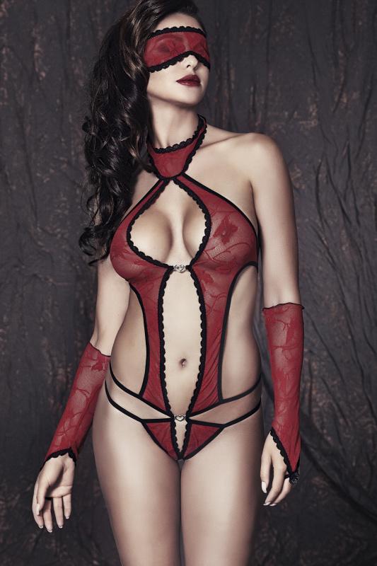 Боди, маска и перчатки Anais Ashley, красно-черные, L