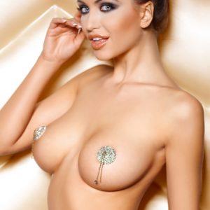 Наклейки на соски (пэстис) Anais Pearl круглые, со стразами и цепочками, металлические, серебристые