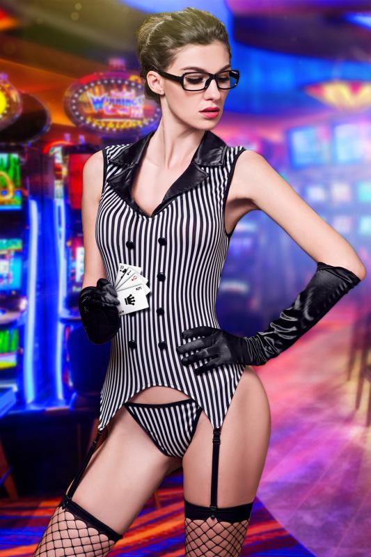 Костюм крупье Candy Girl Destiny (мягкий корсет с пажами, трусы, чулки, перчатки, очки), черно-белый, OS