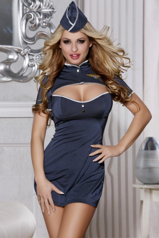 XL Костюм пилота Candy Girl (платье,стринги, головной убор), синий