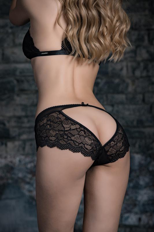 Эротические трусики Norddiva, кружевные, черные, M
