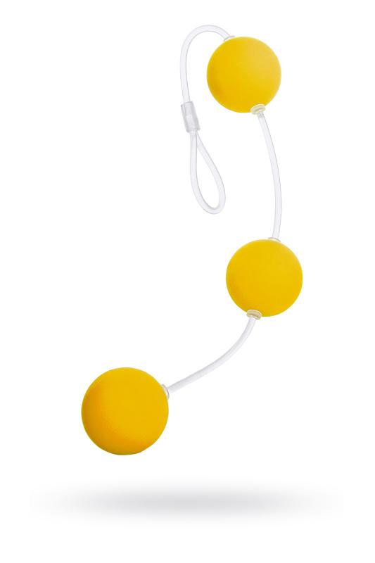 Анальные шарики Sexus Funny Five, ABS пластик, желтые, 19,5 см